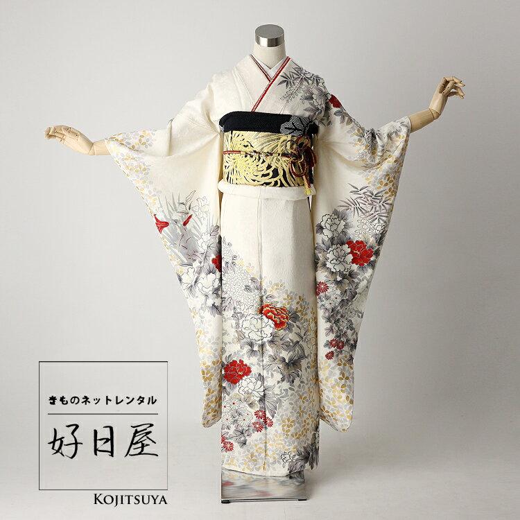 振袖 レンタル フルセット 正絹 着物 【レンタル】 結婚式 成人式 身長148-163cm 白 wh-036