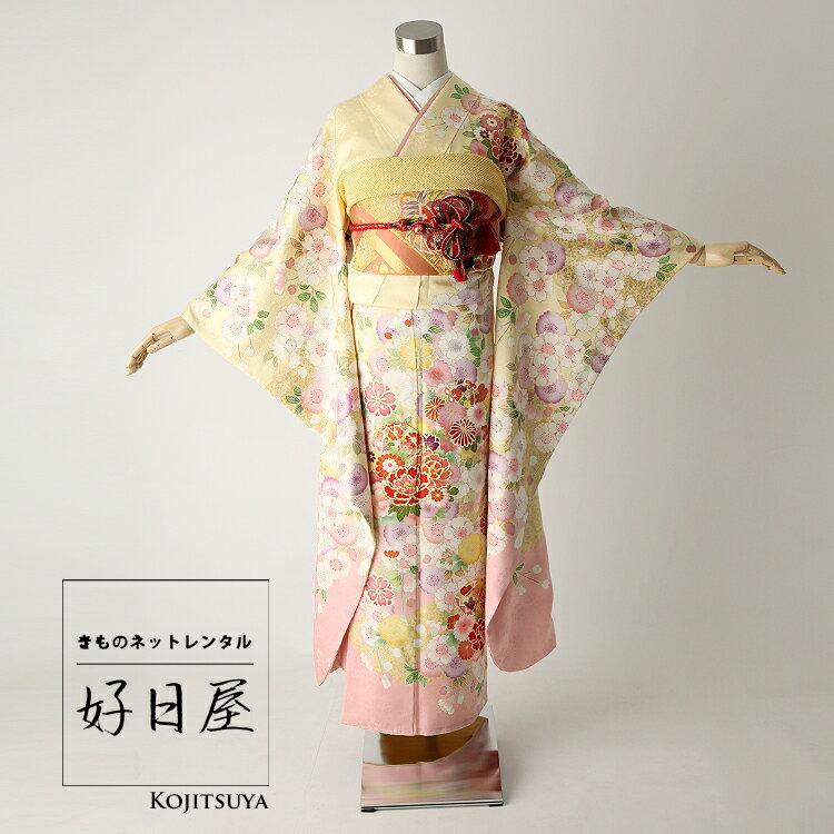 振袖 レンタル フルセット 正絹 着物 【レンタル】 結婚式 成人式 身長145-160cm 黄 ye-008