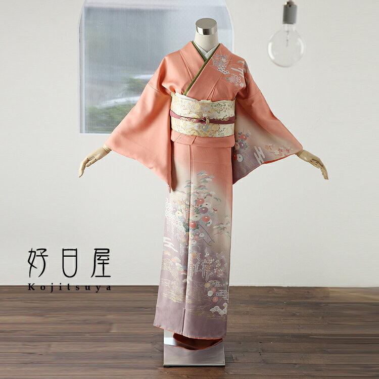 訪問着 レンタル フルセット 正絹 着物 結婚式 卒業式 入学式 七五三 身長145-160cm h-037