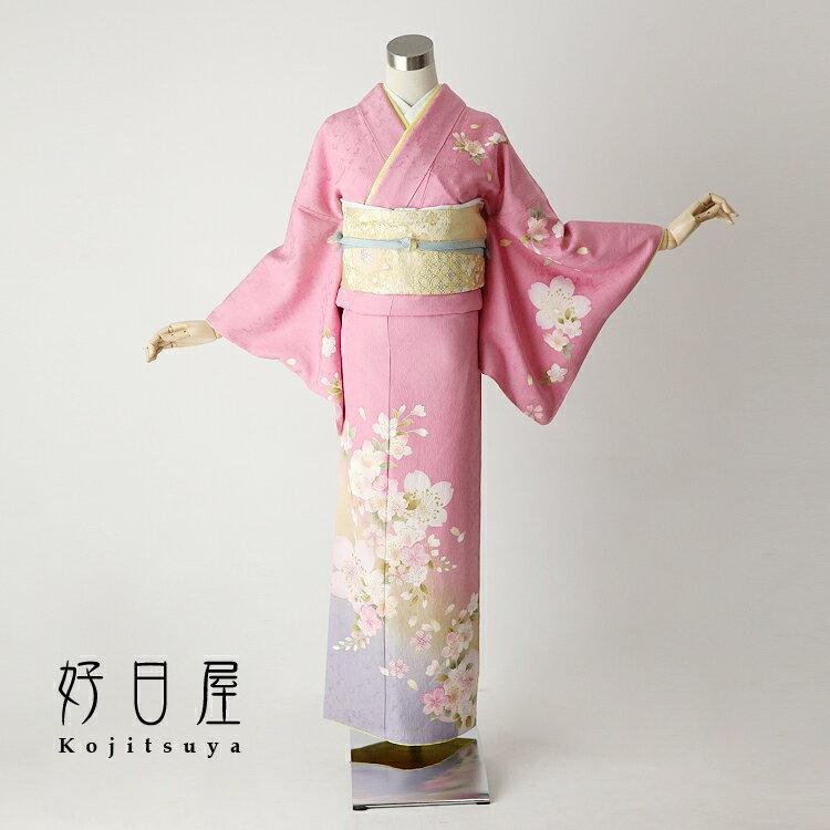 【レンタル】訪問着 フルセット 正絹 適応身長146〜161cm h-085