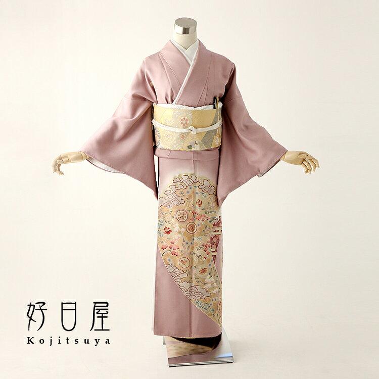 色留袖 レンタル フルセット 正絹 着物 結婚式 身長152-167cm 五つ紋 it-036