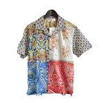 Anjunaインド製コットン100%ボイル生地を使用したパッチワークシャツMサイズ男女兼用夏サマーウェア肌触りなめらかな質感肌に優しい綿絽生地水洗いOKリゾートハワイアンアロハシャツ柄物安いpws003