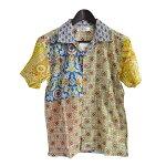 Anjunaインド製コットン100%ボイル生地を使用したパッチワークシャツMサイズ男女兼用夏サマーウェア肌触りなめらかな質感肌に優しい綿絽生地水洗いOKリゾートハワイアンアロハシャツ柄物安いpws007