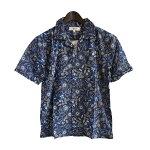 Anjunaインド製コットン100%ボイル生地を使用したパッチワークシャツMサイズ男女兼用ネイビー夏サマーウェア肌触りなめらかな質感肌に優しい綿絽生地水洗いOKリゾートハワイアンアロハシャツ柄物安いpws010011012