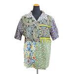 Anjunaインド製コットン100%ボイル生地を使用したパッチワークシャツMサイズ男女兼用夏サマーウェア肌触りなめらかな質感肌に優しい綿絽生地水洗いOKリゾートハワイアンアロハシャツ柄物安いpws076