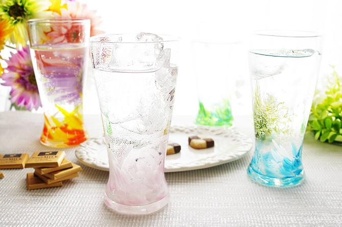 琉球グラス 海蛍アイスロンググラス ピンクなし2個ペアセット