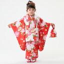 七五三 着物 3歳 被布 女の子 子供 三歳 かわいい 着物 7点 セット 被布セット フルセット 髪飾り 前撮り 購入 販売 赤地に椿(被布 白)