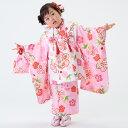 【七五三早割★ポイント10倍】 七五三 着物 3歳 被布 着物7点 フルセット ピンク地にねじり梅(被布 白)