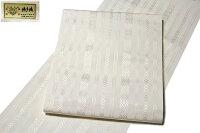 本場筑前博多織【加茂博多織謹製:金印】献上縞全通柄白色八寸正絹名古屋帯