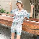 レディース パジャマ 半袖 前開きパジャマ サボテン柄 夏 ショーツパンツ 絹パジャマ 上下セット ルームウエア 部屋着 寝巻き