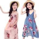 子供服 ワンピース 女の子 ワンピース キッズ 袖あり シフォン ドレス 花柄 可愛い 夏服 リゾートワンピース ボヘミアン ワンピース