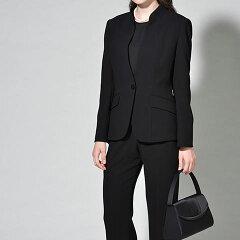 ブラウス付きスタンドカラーパンツスーツ/ブラックフォーマル/喪服/カジュアル目にもOK