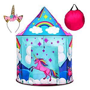 キッズテント(カラフルユニコーン)カチューシャ付き♪収納ケース付き♪屋内/屋外プレイハウス カーテン レインボー 虹 パープル 紫 ブルー&ピンク 窓 城 星 気球 雲 ヘアバンド プリンセステント ポップアッププレイテント USA Toyz