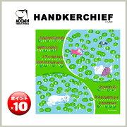 ポイント クォーター リポート HANDKERCHIEF ハンカチ ムーミン グリーン デザイン