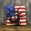 アメリカン クッション 自由の女神&星条旗 USA アメリカ国旗 フラ...