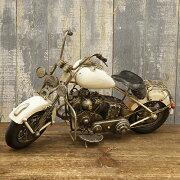 オールド アメリカン ビンテージブリキバイク ホワイト ミニチュア コレクション フィギュア
