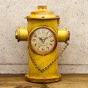 【アメリカン レトロ クロック 】消火栓 イエロー 置き時計 ビンテー...