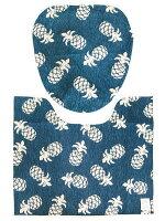 【ハワイアントイレマット&カバー2点セットパイナップル/ネイビー】(ウォシュレットタイプ)トイレマットトイレカバートイレマットセットもようがえおしゃれトイレ男前トイレ丸洗い滑り止めアメリカン雑貨ハワイアン雑貨ハワイ