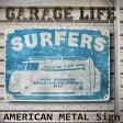 サーフ ブリキ看板 サーファーズ(AZ/16002)ティンサイン/メタルサイン 看板 サーフィン ワーゲンバス 西海岸 アメリカン雑貨 ハワイアン雑貨 看板