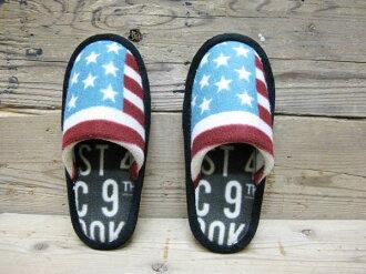 美國拖鞋 (美國國旗) 室內拖鞋、 室內鞋耐水洗廁所拖鞋 ! 美國美國小玩意小玩意拖鞋遊客入學典禮畢業典禮
