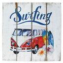 【アメリカン ウッド サインボード ワーゲンバス&サーフィン】Surf...
