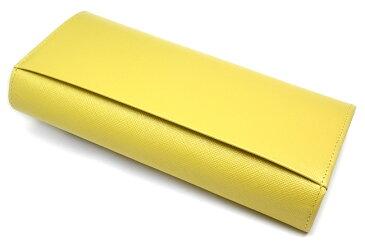 【送料無料】【イエロー】ビジュー 型押し 光沢 長財布 「ル・プレリー」 牛革 本革 ウォレット【楽ギフ_包装選択】