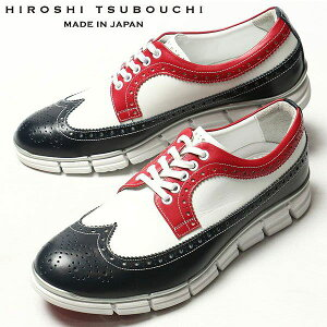 HIROSHI TSUBOUCHI ヒロシツボウチ 靴 キップレザー ウィングチップ トリコロ…