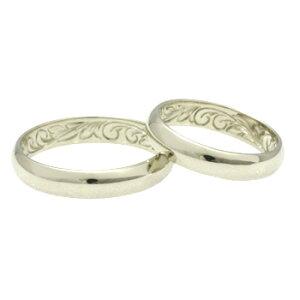 【送料無料】ハワイアンジュエリーペアリング【結婚指輪・マリッジリングにも最適です】オーダー・インサイドリング幅4mm14Kホワイトゴールド※オーダー内容により価格が異なります。