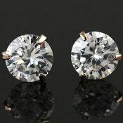 ピアス1ペア(2個)CZダイヤモンドK18ゴールド18金K18YGK18WGハートメール便OKモモダイヤ