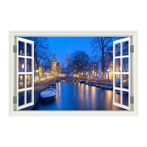 ウォールステッカー 窓枠 アムステルダム(Mサイズ) WAKU 風景 景色 北欧 旅行 写真 シール お風呂 浴室 絵画 壁紙 ポスター おしゃれ リフォーム DIY トイレ インスタ 映え