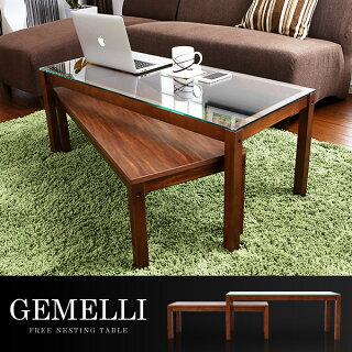 センターテーブルコーヒーテーブルガラステーブルツインテーブル木製リビング収納棚付き無垢モダンテーブル
