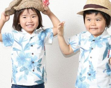 キッズシャツ フローラル月桃 90cm〜110cm アロハシャツ かりゆしウェア