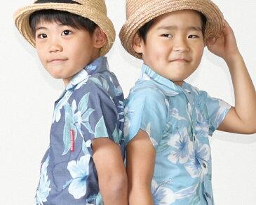 キッズシャツ フローラル月桃 120cm〜140cm アロハシャツ かりゆしウェア