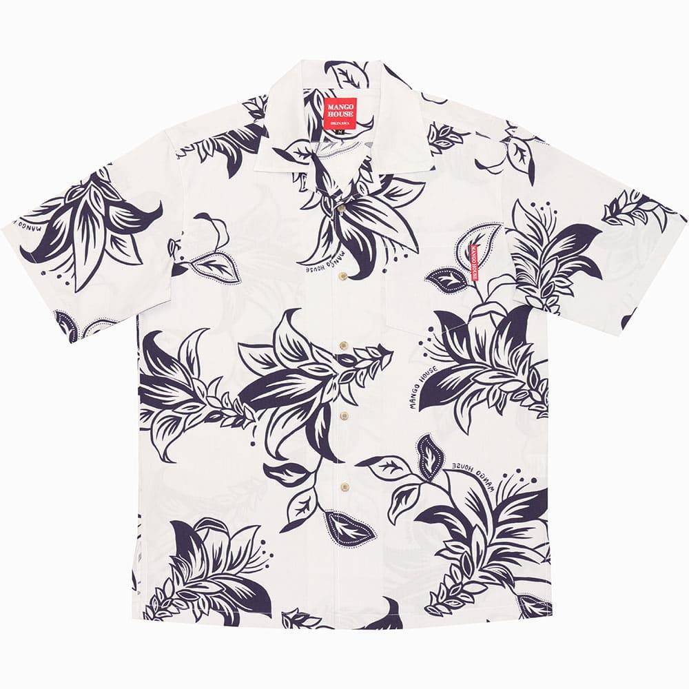 大きいサイズ 単色デイゴ大柄 メンズ アロハシャツ かりゆしウェア