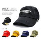 RUBENルーベンniceday!BOXロゴワッペンローキャップキャップメンズ帽子アジャスター付フリーサイズビタミンカラーアウトドアゴルフウォーキングメンズキャップメンズ帽子ゴルフキャップゴルフ帽子