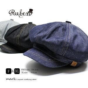RUBEN ルーベン DENIM CASKET デニムキャスケット メンズ キャスケット ゴルフ 帽子 大きいサイズ フリーサイズ ゴルフキャップ 2WAY キャスハンチング デニム ヒッコリー レディース FREE XL ビッグサイズ サイズ調節