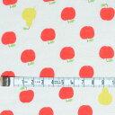 生地 布 入学 入園 国産 プリント ダブルガーゼ りんご 洋梨 アップル ラフランス【50cm単位】