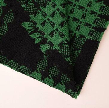 厚手 ウール(ブラック&グリーン) ファンシーツイード 10cm単位 150cm幅 1.5mm厚