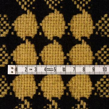 厚手 ウール(ブラック&マスタード) ファンシーツイード 10cm単位 150cm幅 1.5mm厚