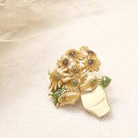 ブローチアンティーク風ブローチピン花ゴッホひまわりアートおしゃれきれい和装着物ギフトプレゼントルチカ日本製