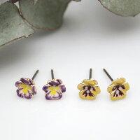 ピアスパンジー花フラワーおしゃれきれいかわいい和装着物ギフトプレゼントルチカ