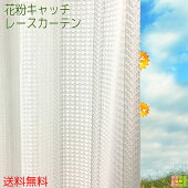 花粉キャッチレースカーテンフロッシュ2枚組出窓腰高窓掃出し窓既成サイズ幅100cm丈133cm、176cm、198cm