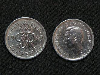 영국에서 출발 하는 행복의 6 펜스 동전 1949 년 GR 디자인 해 조지 6 세
