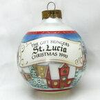 【 X'mas Boll 】 1990年 ガラス オーナメント クリスマス ボール 冬の町の風景 北欧 セント ルチア St.Lucia プレゼントを届ける ギフト ブリンガー ヴィンテージ ホールマーク ギフト クリスマス ヴィンテージ 雑貨 アメリカ サンタルチア 【中古】