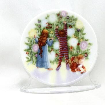 【 X'mas Plate 】 1987年 クリスマス ミニプレート 絵皿 ライト・シャイン 灯されたクリスマスツリーのデザイン デコレーション キープセーク オーナメント プレゼント ギフト ヴィンテージ 雑貨 セラミック 磁器製 ホールマーク アメリカ 【中古】 02P19Dec15