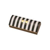 【送料無料】パールメガネケースサングラスストライプ(クロス付)マグネット式ハードつり下げ型パッケージ入