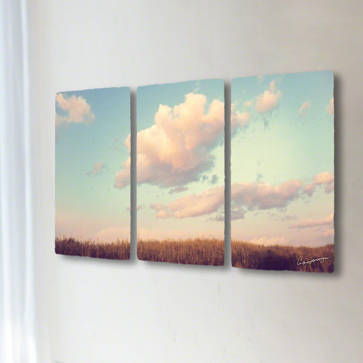 和紙 手作り アートパネル 3枚続き 「葺原に浮かぶ夕暮れ雲」(50x28cm)  絵画 絵 ポスター 壁掛け モダン アート 和風 オリジナル インテリア 風景画 ランキング おすすめ おしゃれ 人気 キッチン リビング ダイニング 玄関 和室