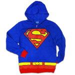 ◎【SUPERMANスーパーマン】コスチューム柄ジップアップパーカーDCコミックス・DC・アメキャラ・アメコミ・アメリカン雑貨・アメリカ雑貨・アメ雑