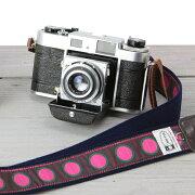 おしゃれ オリジナル カメラストラップ カフカリボン マーブルドットピンク
