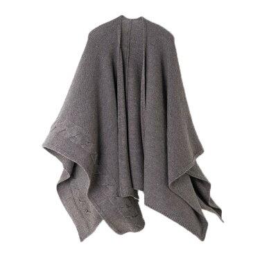 【ニットポンチョmino】winter light wool tate グレー フリーサイズ ウール[送料無料]